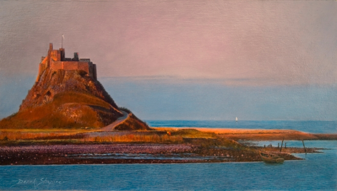 An oil painting of sun set scene of a castle in the North East of Englande Castle set on an Island