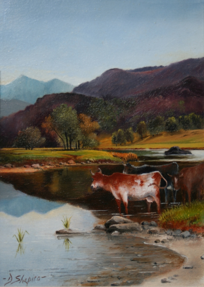 A small landscape painting in oil on a panel of cattle watering in a Lake District scene