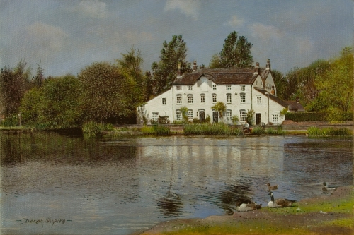 An oil on canvas scenic landscape painting of an old grain mill viewed across the Mill pool with geese preening in the foreground