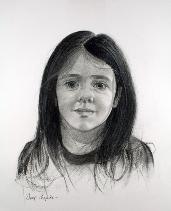 Portrait study in charcoal of a young girl