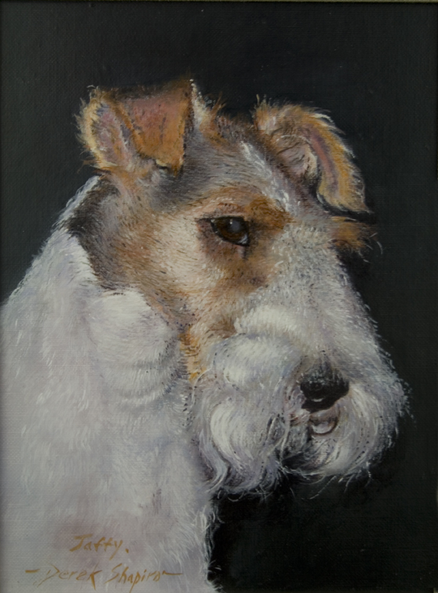 Commissioned oil portrait of a Wire Haired Fox Terrier head study oportrait oil painting of