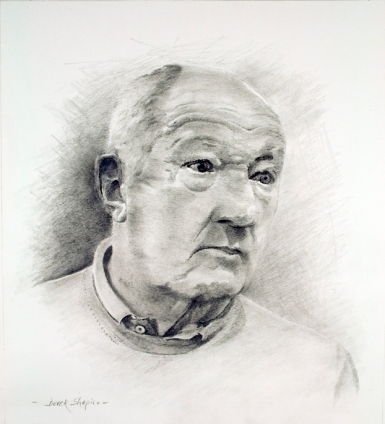 Portrait head and shoulder study in pencil on paper