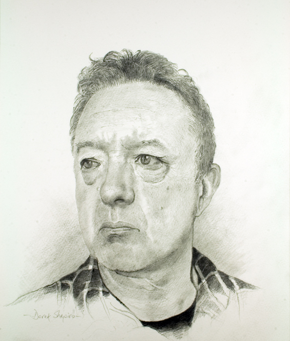Head study on paper in pencil of a man