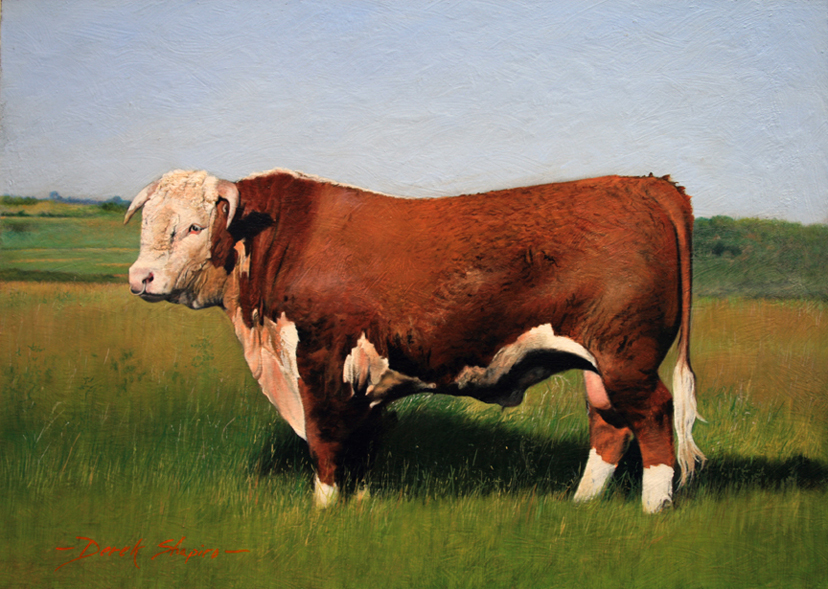 Full animal painting of an Hereford Bull posing in a field