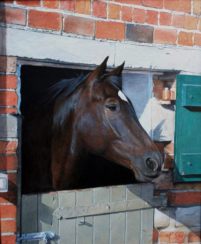 An oil painting of a dark bay horse looking over a stable door