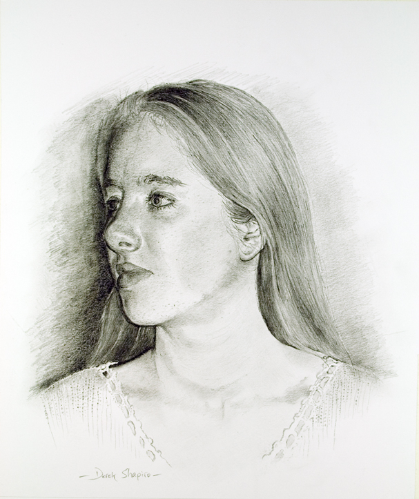 Head and shoulders portrait study in pencil on paper of Sarah Louise