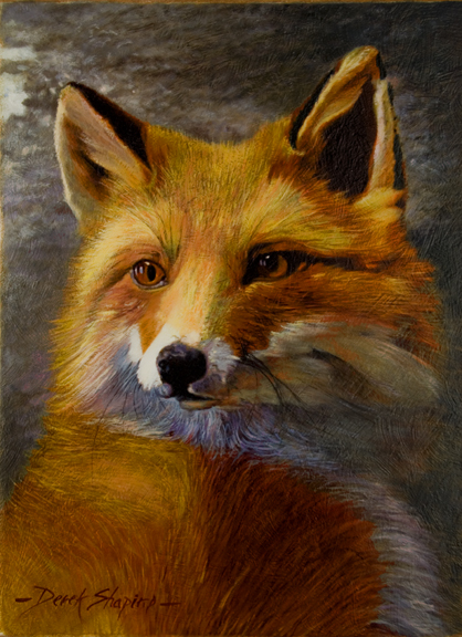 An oil painting portrait close up of a Fox
